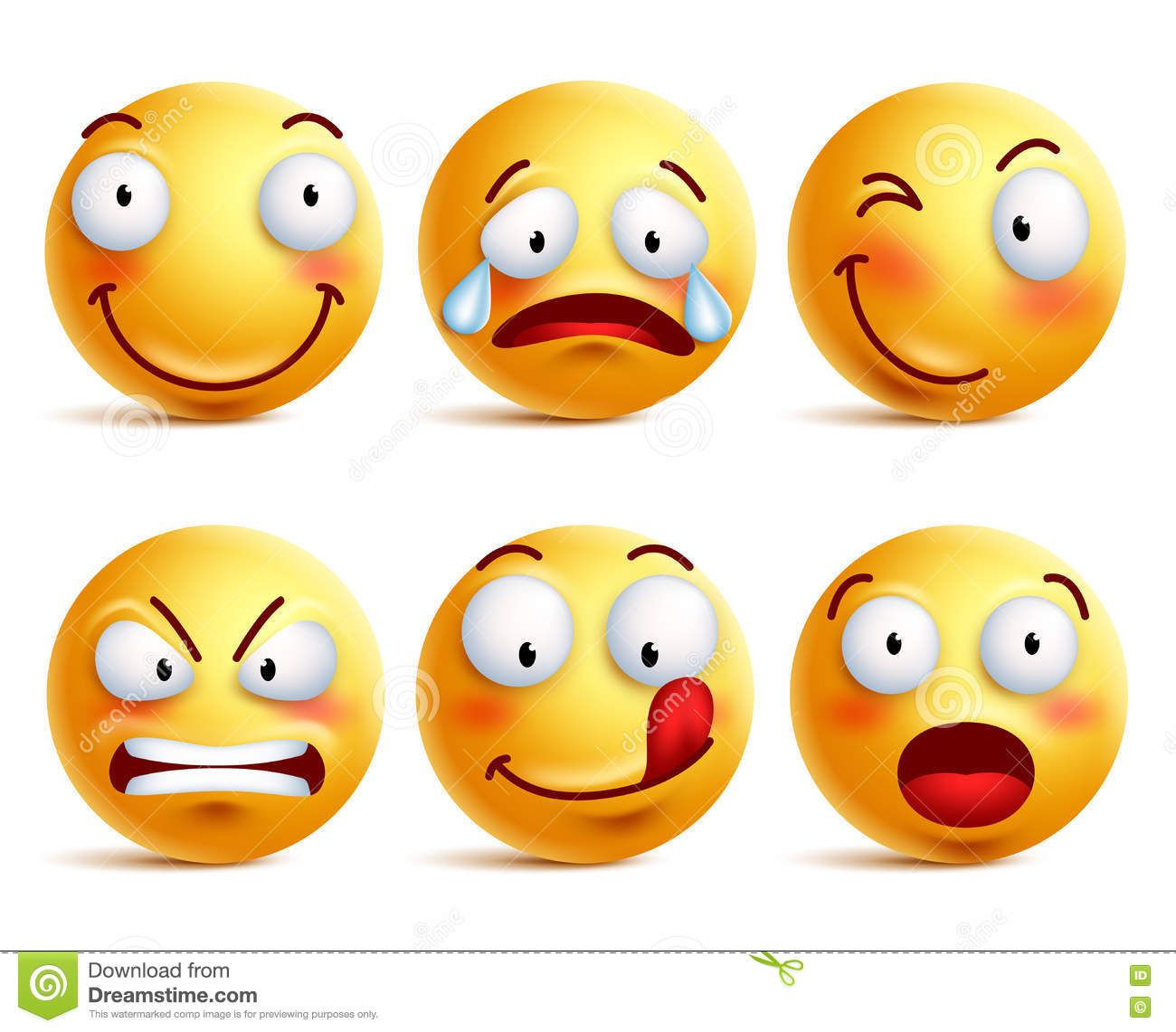Set Of Smiley Face Icons Or Yellow Emoticons With