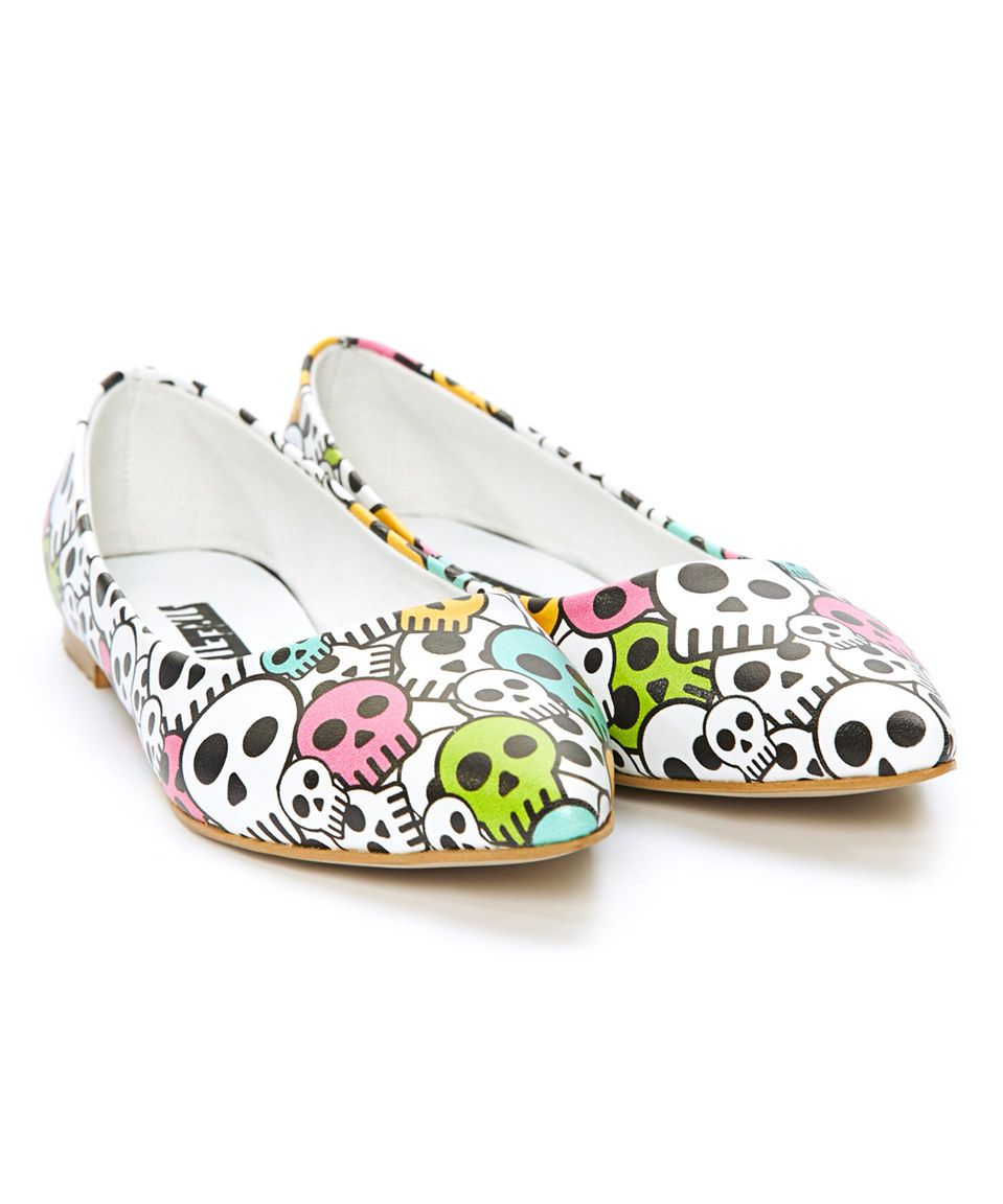 Another great find on Streetfly White & Pink Skull Ballerina Flat by  Streetfly  <div class=