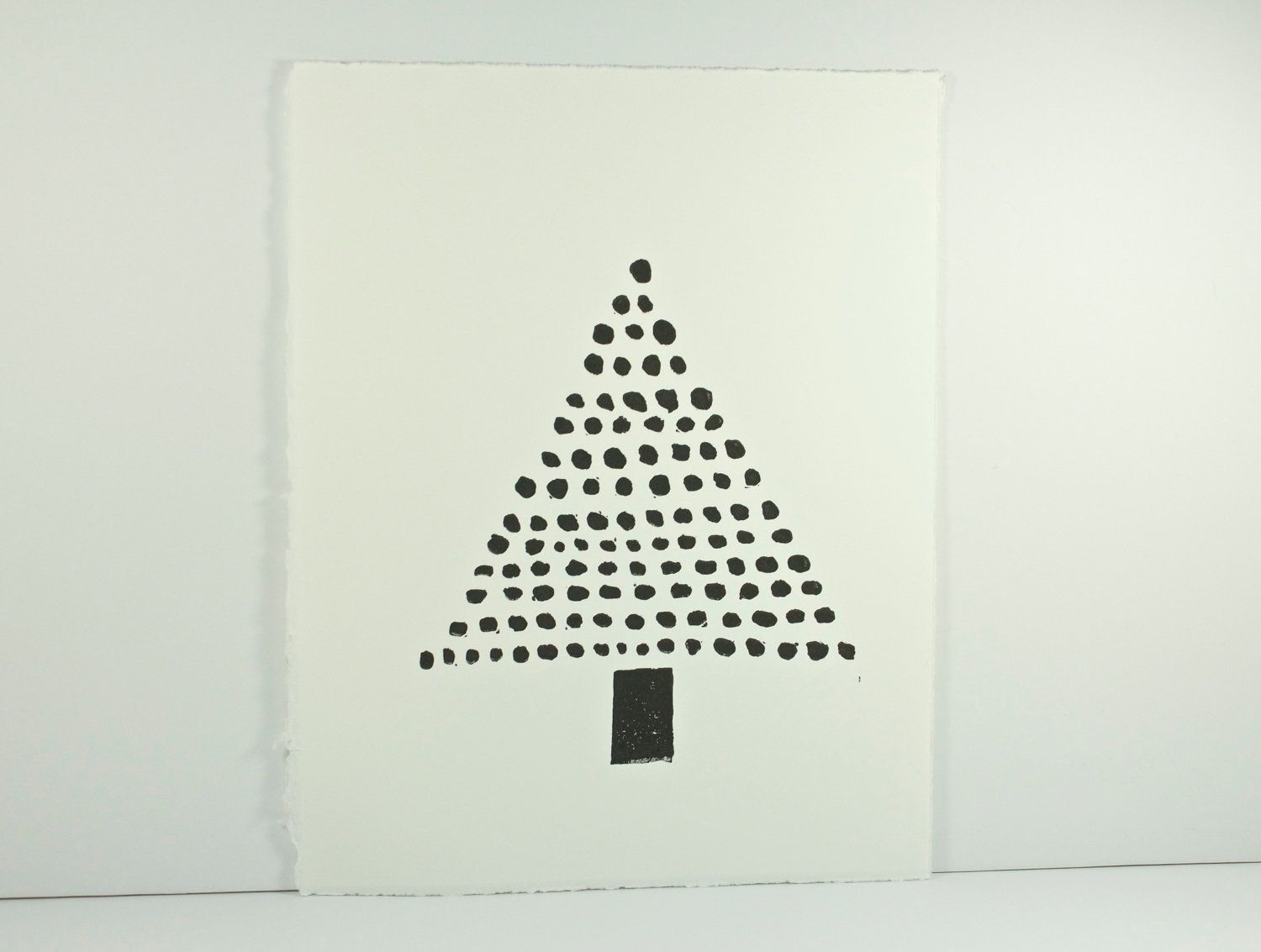 Modern Christmas Tree Art Decor Black linocut PRINT