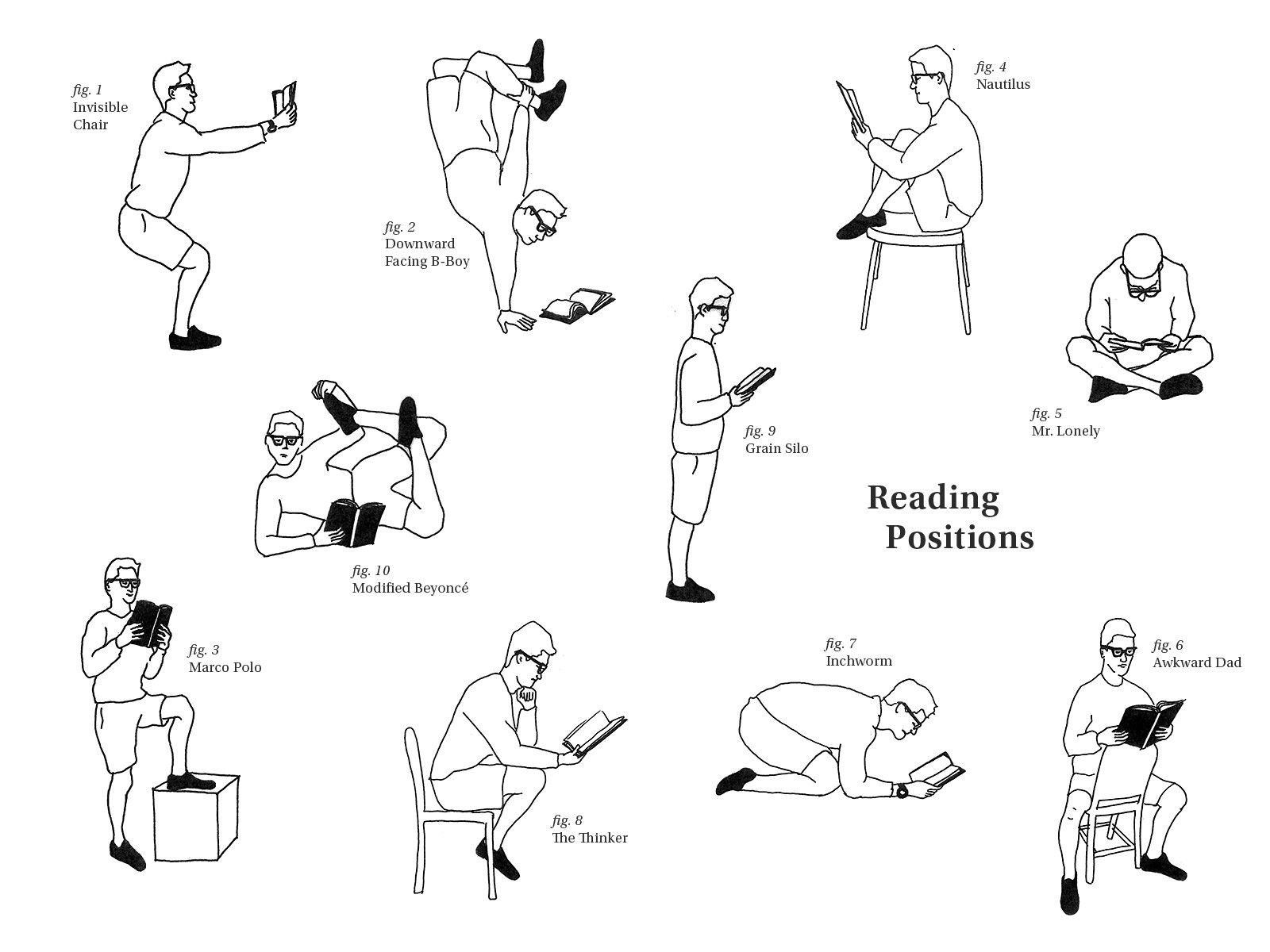 INSTRUCTIONS: 1. Stretch 2. Grasp book 3. Assume position (see above) 4. Hold position for required amount of time 5. Cool down Art: Patrick Kearns