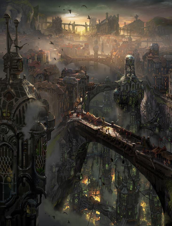 steampunk city landscape artworks