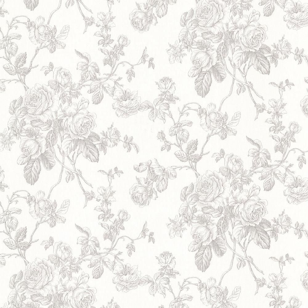 Brewster Annie Grey Floral Wallpaper Grey floral