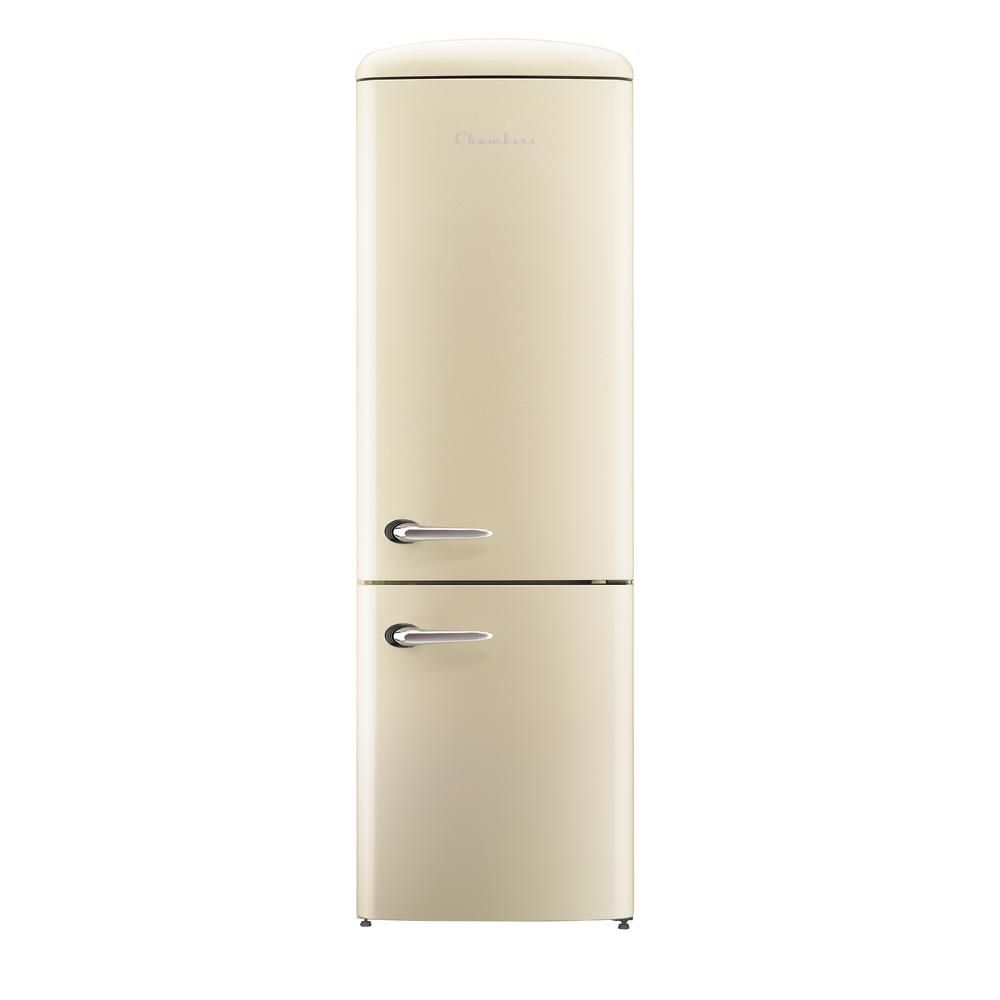 Chambers Retro 24 In 12 Cu Ft Bottom Freezer Refrigerator In Champagne Crbr 2412cr The Home Depot Retro Refrigerator Bottom Freezer Refrigerator Energy Star Refrigerator