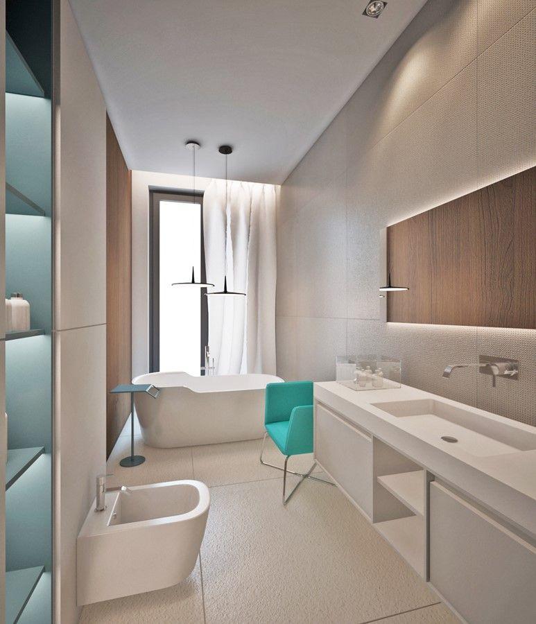 Projekt Wąskiej łazienki W Minimalistycznym Stylu