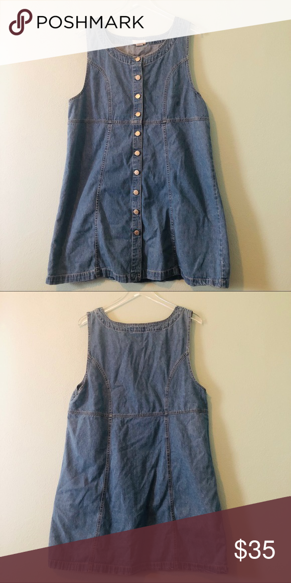 f3d1619875c Cherokee vintage denim button up jumper dress Vintage Cherokee jumper denim  dress Buttons up the front Amazing condition! Measurements are all taken  laying ...