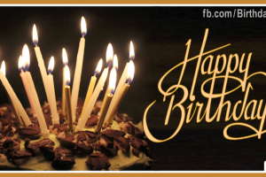Long Candles Gold Happy Birthday Card