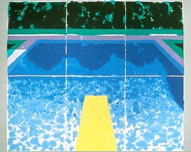 David Hockney - Piscine Avec Trois Bleus, 1978  colored and pressed paper pulp 72x85 1/2 in.