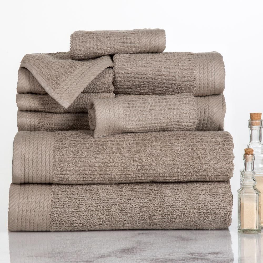 10 Piece Ribbed Egyptian Cotton Towel Set In Towel Set Egyptian