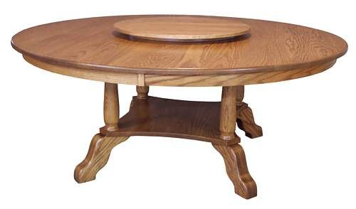 A Beautiful Round Craftsman Mission Dining Table With Built In Lazy Susan