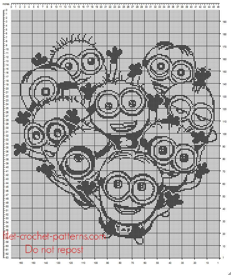 Crochet filet crib blanket with Minions Despicable me free pattern ...