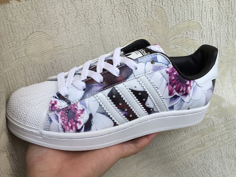 brand new 2c589 314f4 adidas originals superstar 2 w ii rose floral Print White and Black Purple  Rose Flowers