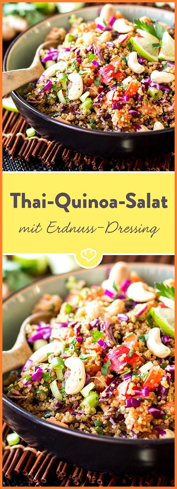 Thai-Quinoa-Salat mit Erdnuss-Ingwer-Dressing #ErdnussIngwerDressing #Fitness food clean eating #Fit...