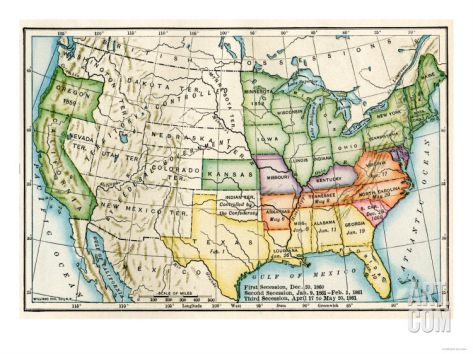 US Map Showing Seceeding States by Date American Civil War c