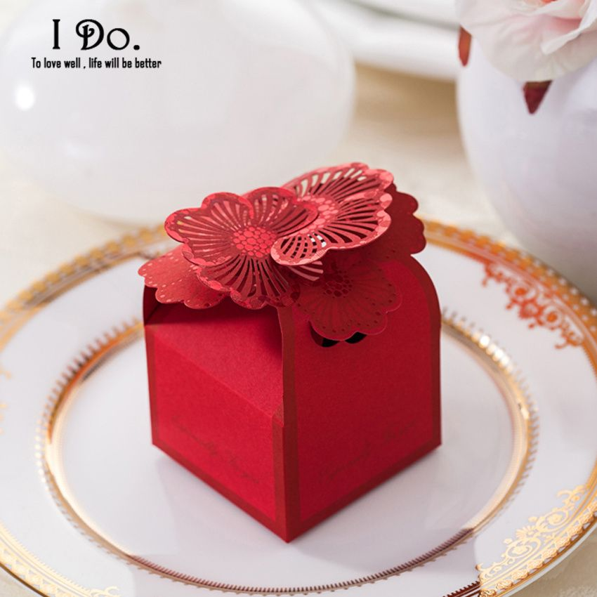 Free Shipping 10pcs Red Flower Candy Favor Box/Wedding Candy Box ...