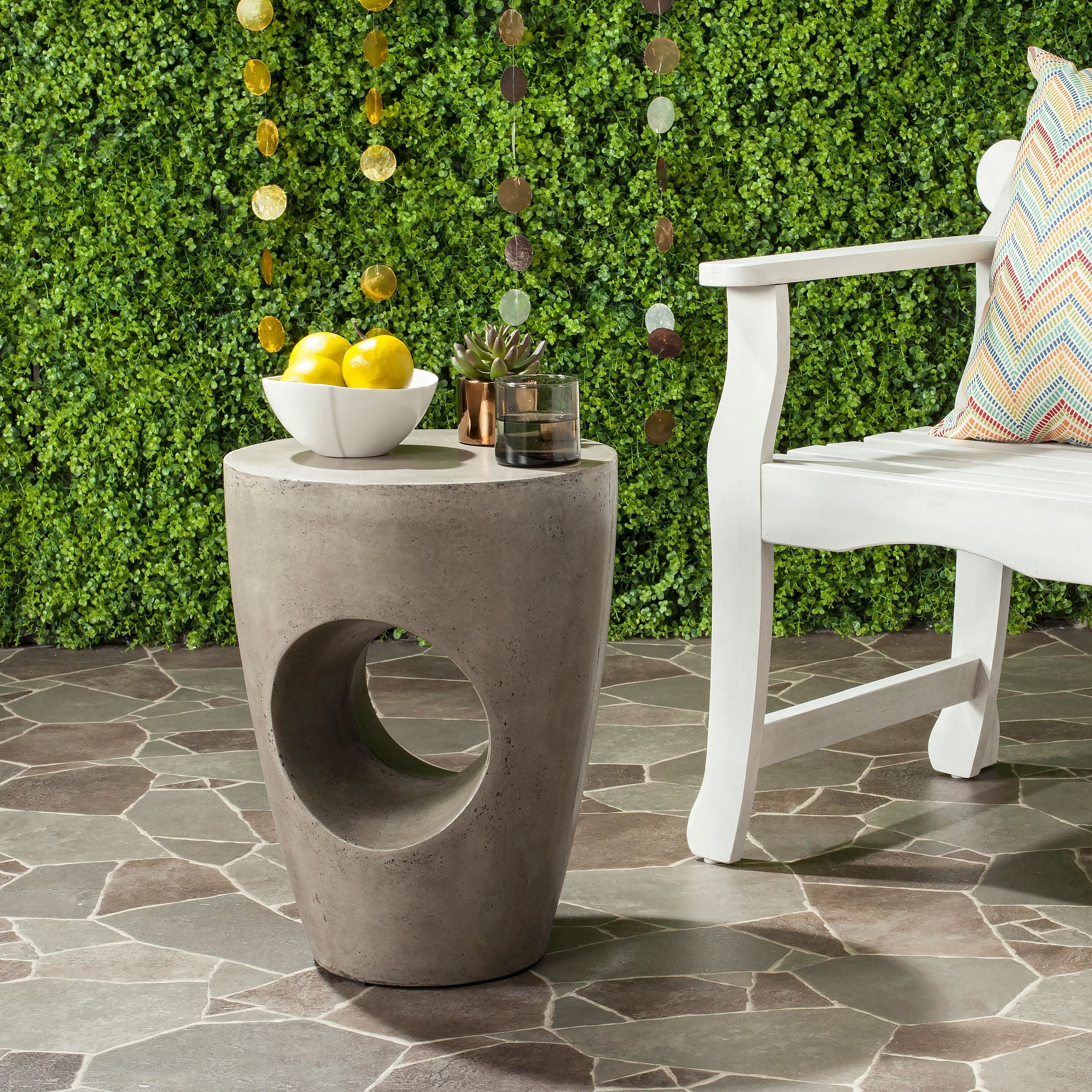 Safavieh Aishi Concrete Indoor/ Outdoor Accent Table (Dark
