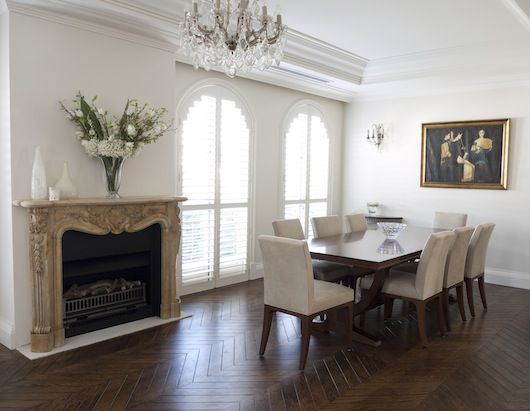 Formal french dining room with stunning fireplace french for Dining room ideas australia