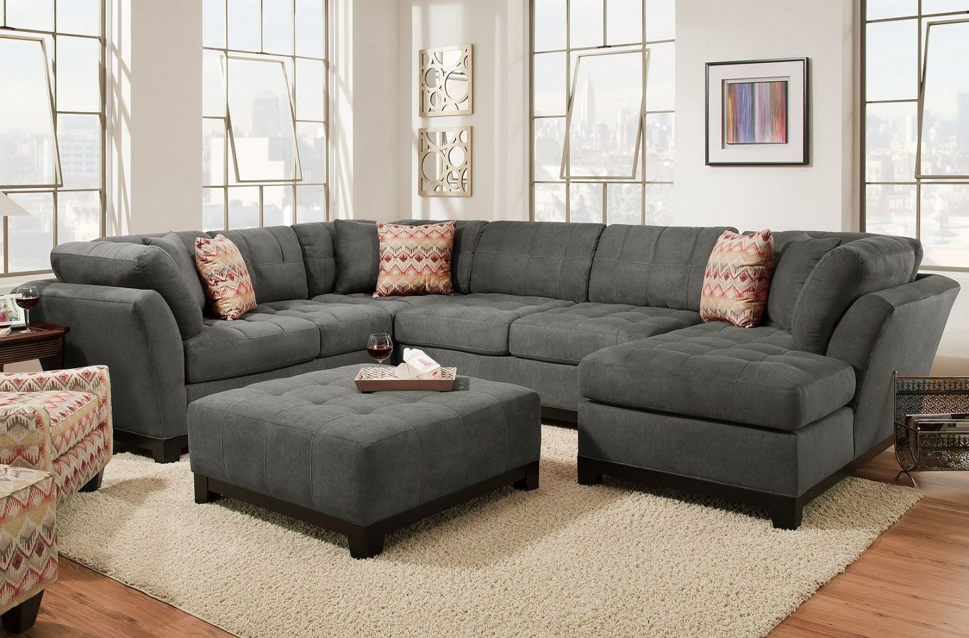 Best Loxley Charcoal Sectional 3 Piece Sectional Sofa 640 x 480