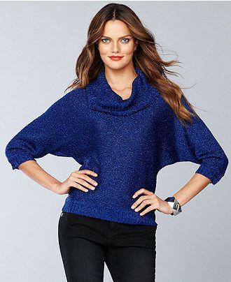 INC International Concepts Sweater, Dolman-Sleeve Cowl-Neck Metallic-Knit - Womens Sweaters - Macy's