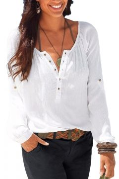 767226fcd950 Womens Casual V Neck Blouses Linen Long Sleeve Button-Up Shirts Tops ...