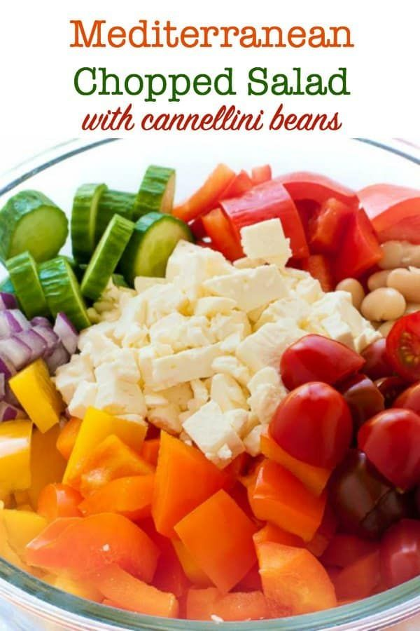 Mediterranean Chopped Salad with Cannellini Beans  Mediterranean Chopped Salad with Cannellini Beans