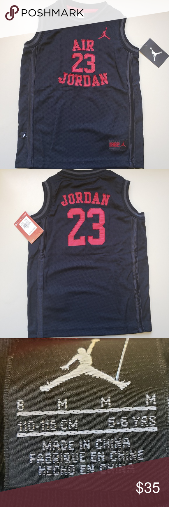 Brand new Air Jordan size 6 Boys JeJersey Black and red