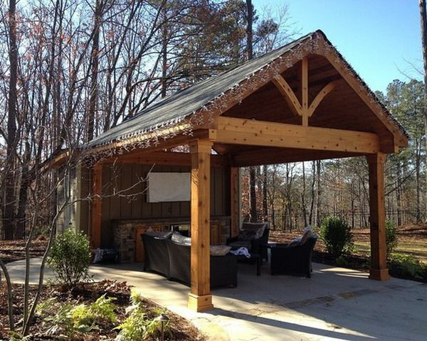 Free Standing Covered Patio Designs: Wooden Structure Freestanding Covered Patio-Post Against