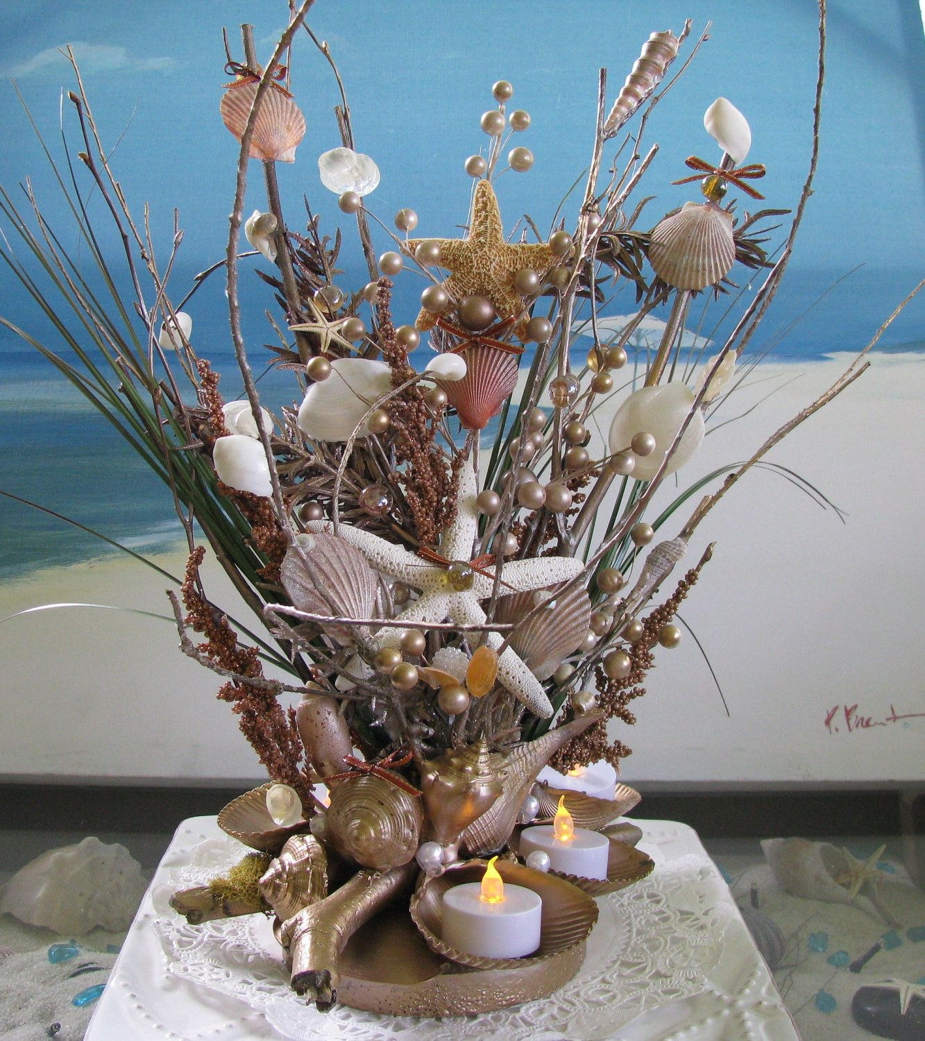 Beach Wedding Flower Ideas: Seashell Centerpiece- 20 In.Beach Wedding Seashell