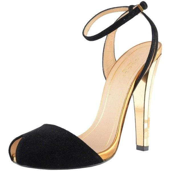 ffa63b3f6874 Pre-owned Gucci Az-g-351 Black   Gold Sandals ( 305) ❤ liked on Polyvore  featuring shoes