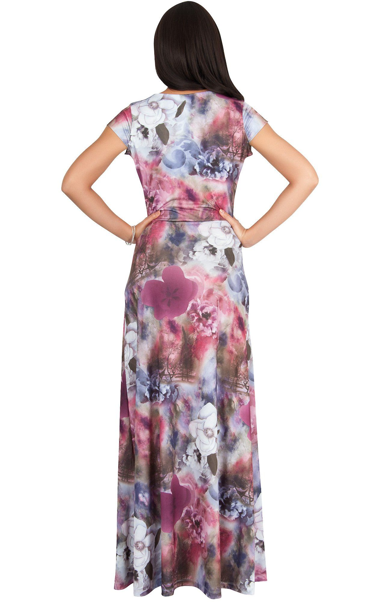 58b6052c6e Maternity Fashion - KOH KOH Women Long Cap Short Sleeve Floral Print VNeck  Boho Flowy Summer Casual Formal Sexy Sundress Sundresses Gown Gowns Maxi  Dress ...