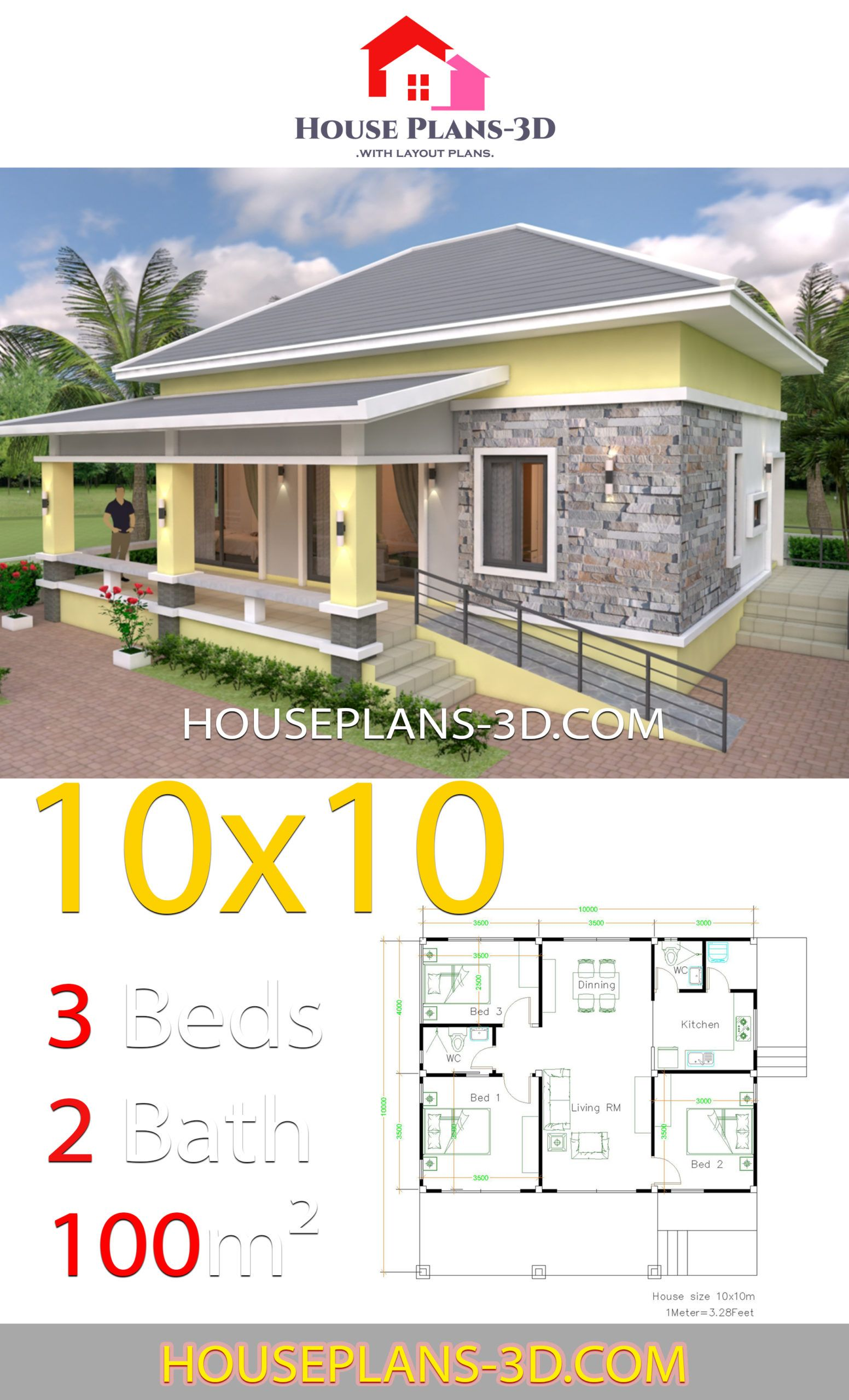 House Design 10x10 With 3 Bedrooms Hip Roof House Plans 3d In 2020 House Plans Bungalow Style House Plans Bungalow House Design