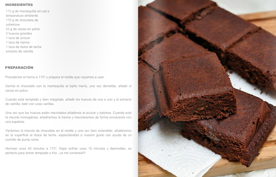 brownies de chocolate y dulce de leche