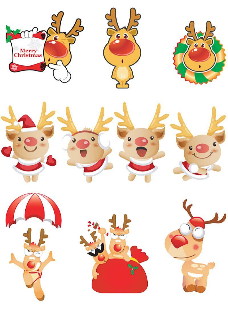 cartoon christmas deers vector set of 10 cute vector cartoon