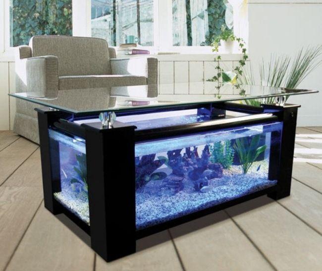Aquarium Design Couchtisch Schwarzer Rahmen Blaue Lampen