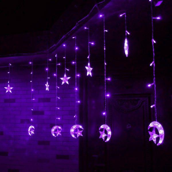 christmas led light string star moon shape curtain light home decor celebration festival wedding