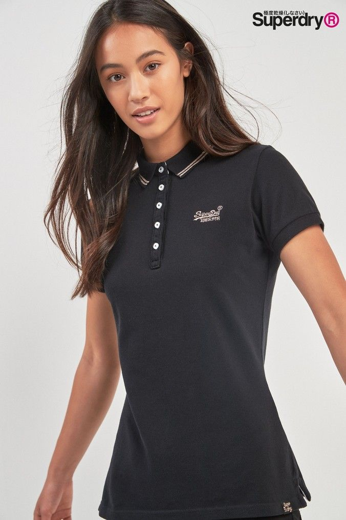 buy new lifestyle great fit Womens Superdry Polo Top - Black | Ładne 2 in 2019 | Polo ...