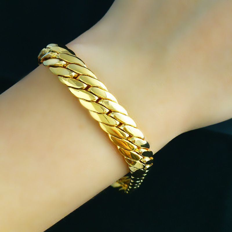 Vogue real yellow gold filled solid snake bone chain bracelet