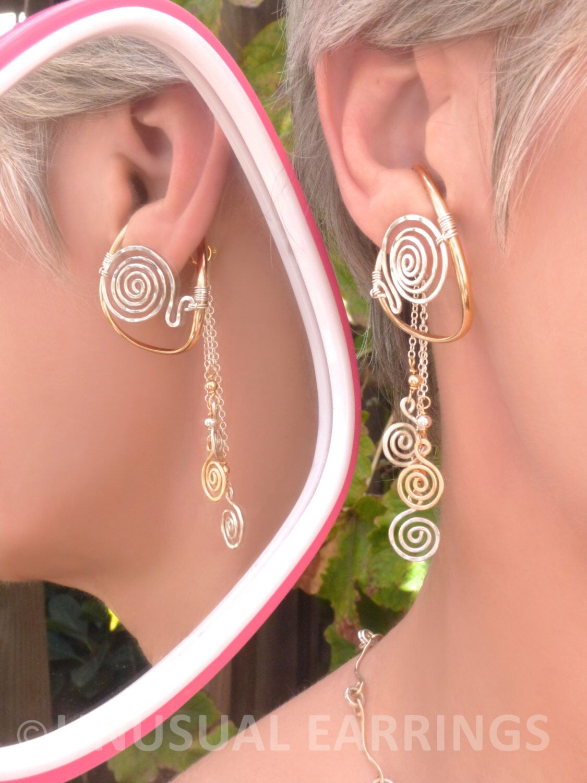 Gold silver unpierced earrings non pierced earrings mixed gold silver unpierced earrings non pierced earrings mixed metal ear cuff baditri Choice Image