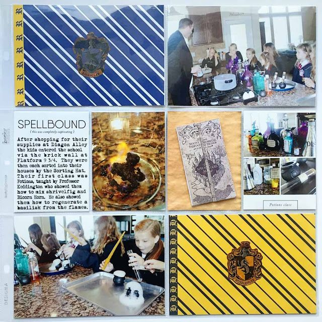 Scraps of Shirlee: September 2015 Hybrid Layouts - Harry Potter Edition Hogwarts Party Project Life Scrapbook Page Layout Potions