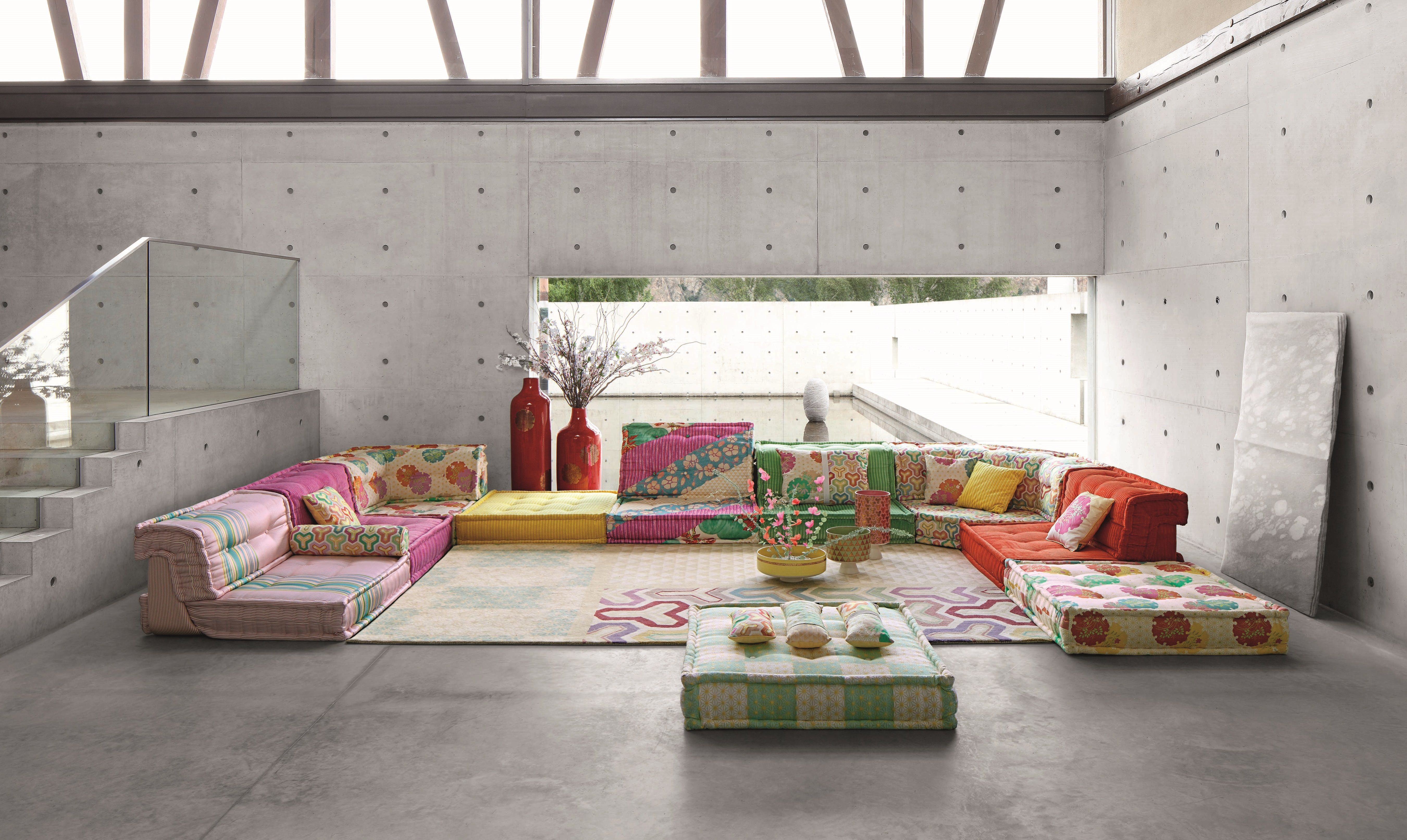 Roche Bobois Mah Jong Composition Asa Designed By Hans Hopfer In Fabric Designed By Kenzo European Home Decor Contemporary Furniture Contemporary Interior