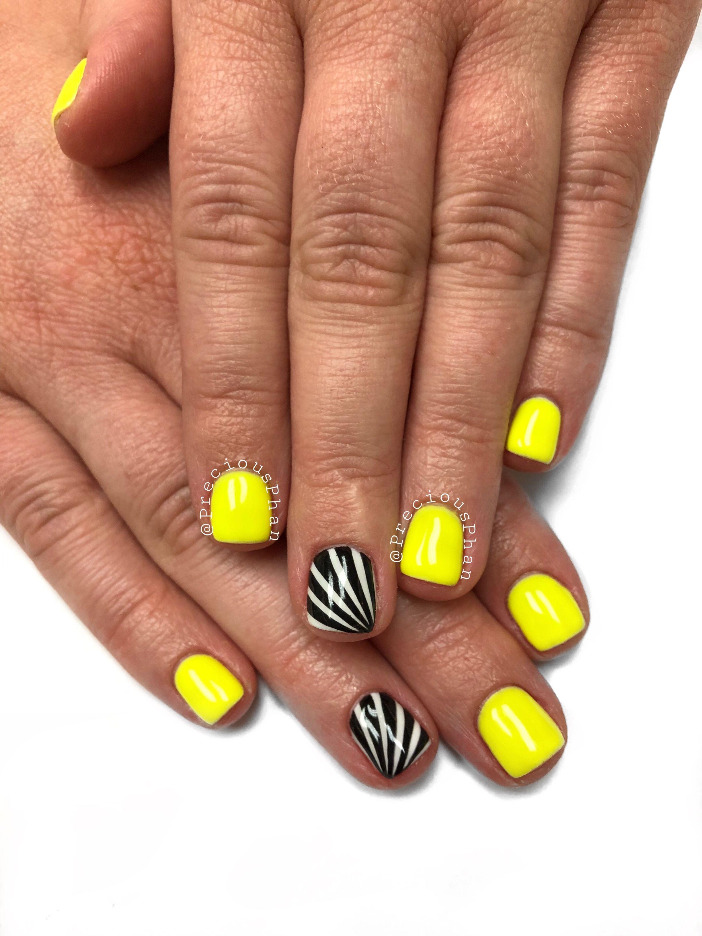 Neon Yellow Nails Black And White Dizzy Nails Preciousphan