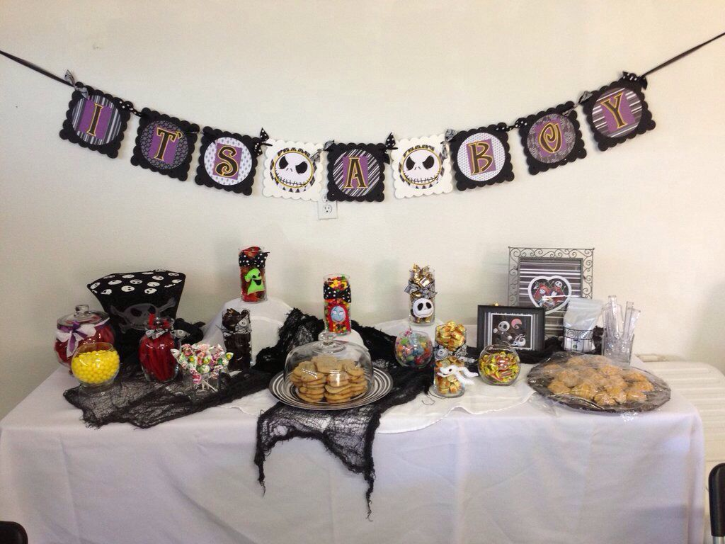 Lovely Nightmare Before Christmas Baby Shower Treat Table
