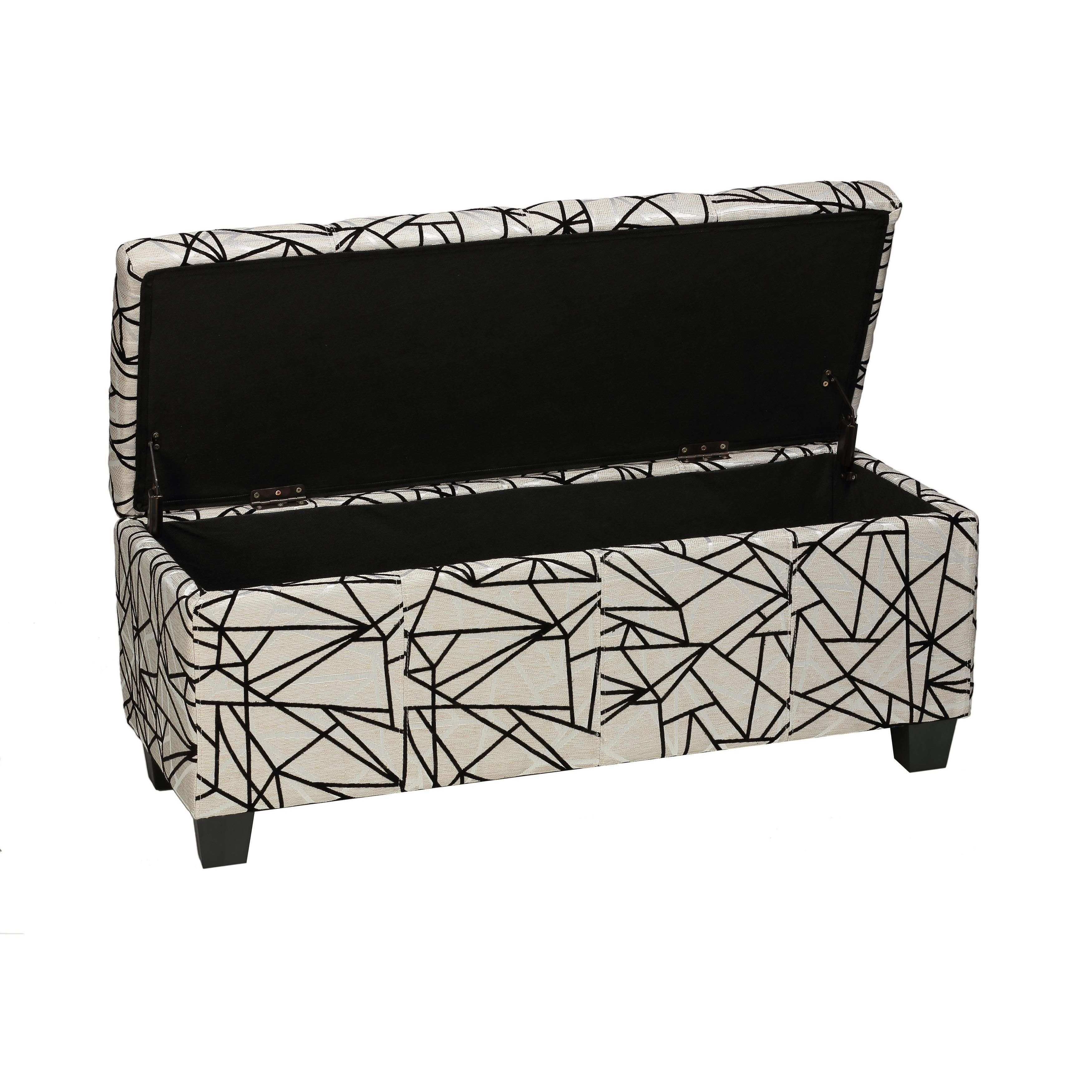 Superbe The Funky Zig Zag Storage Bench Is Covered In A Soft Linen Like Fabric And  Offers A Solid Wood Construction. Overall Beige In Color, It Has Embossed  Black ...