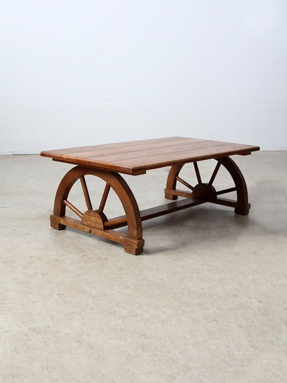 S Wagon Wheel Coffee Table Vintage Monterey Style Table - Ranch style table