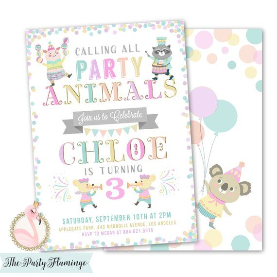 Party Animals Invitation Zoo Birthday Calling All Invites Girl 1st 2nd 3rd Printable Printed