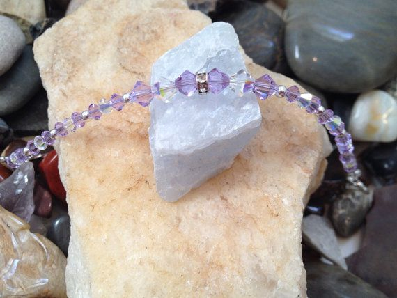 Purple Swarovski crystal sterling bracelet by LizAnnDesigns