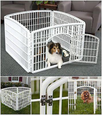 Pet Exercise Dog Playpen 24 Large With Door 4 Panel Pen Plastic
