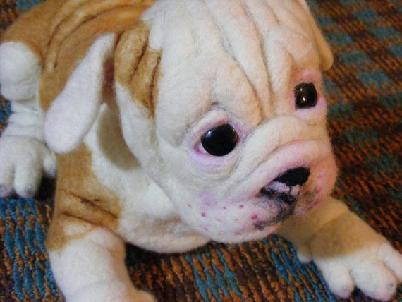 Look At That Face Needle Felted Life Size English Bulldog Puppy