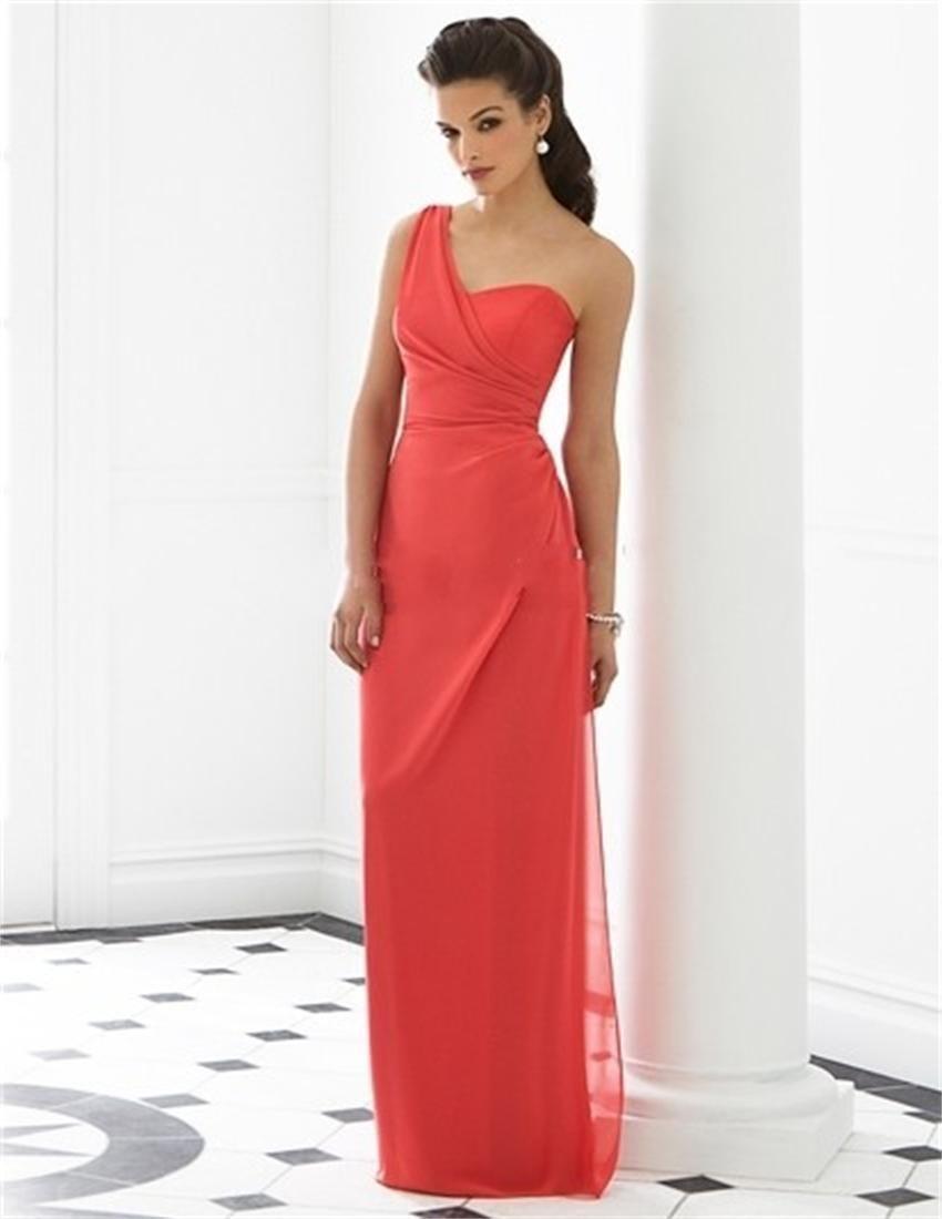 Custom made robe de festa elégant une épaule coral couleur en