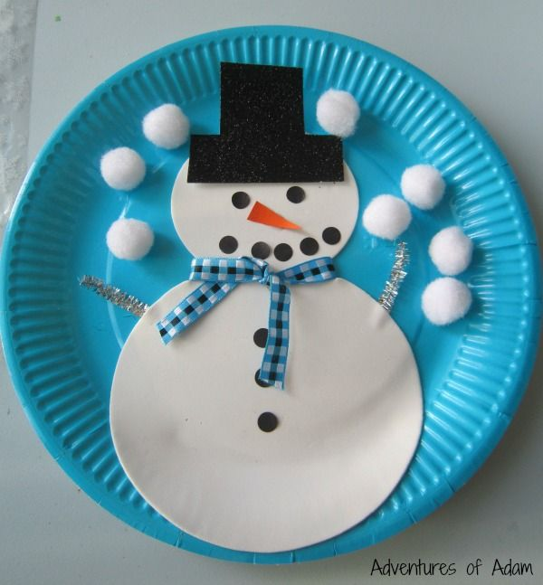 Snowman paper plate craft #christmascraftsforkidstomake
