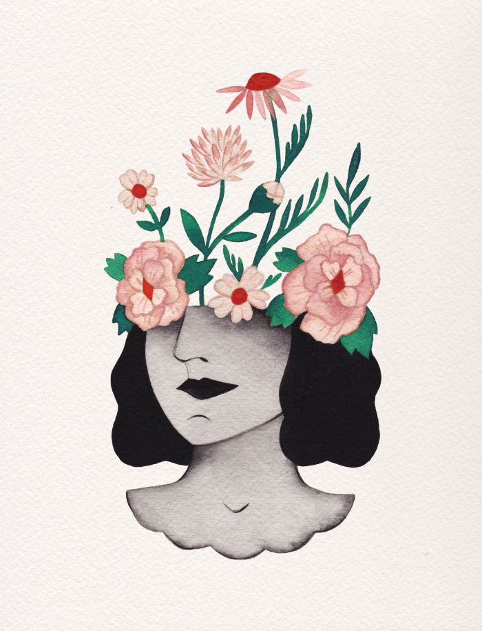 Girl With Flower Head Drawing : flower, drawing, Flower, Print, Esthera, Preda, Society6, Prints,, Drawings